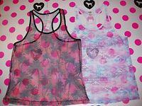 Victorias Secret Pink Fishnet Mesh Beach Cover Up Tank Top Shirt Palm Xs S M