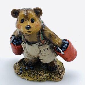 Wee-Forest-Folk-Miniature-Figurine-Bears-Good-Pickin-039-s-BB-4-Red-Bucket-Blueberry