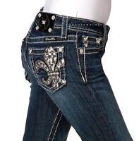 Miss Me Girls Chunky Cross In Fleur De Lis Boot Cut Jeans Jk7036b3 Sizes 8 10