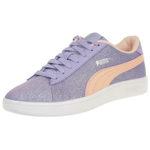 PUMA SMASH V2 Paillettes Glamour Junior Fille Chaussure Violet 367377 08