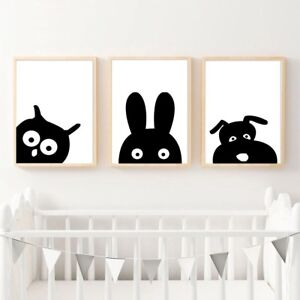 Details About Black White Animal Head Owl Rabbit Canvas Poster Nursery Art Print Room Decor