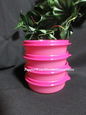 TUPPERWARE New 4 Litl Small Wonders Bowl Snack Set Lunch Pink Containers w Seals