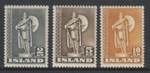 Iceland - 1939/47, 2k - 10k set - Perf 11 1/2 - MNH - SG 254a/56a
