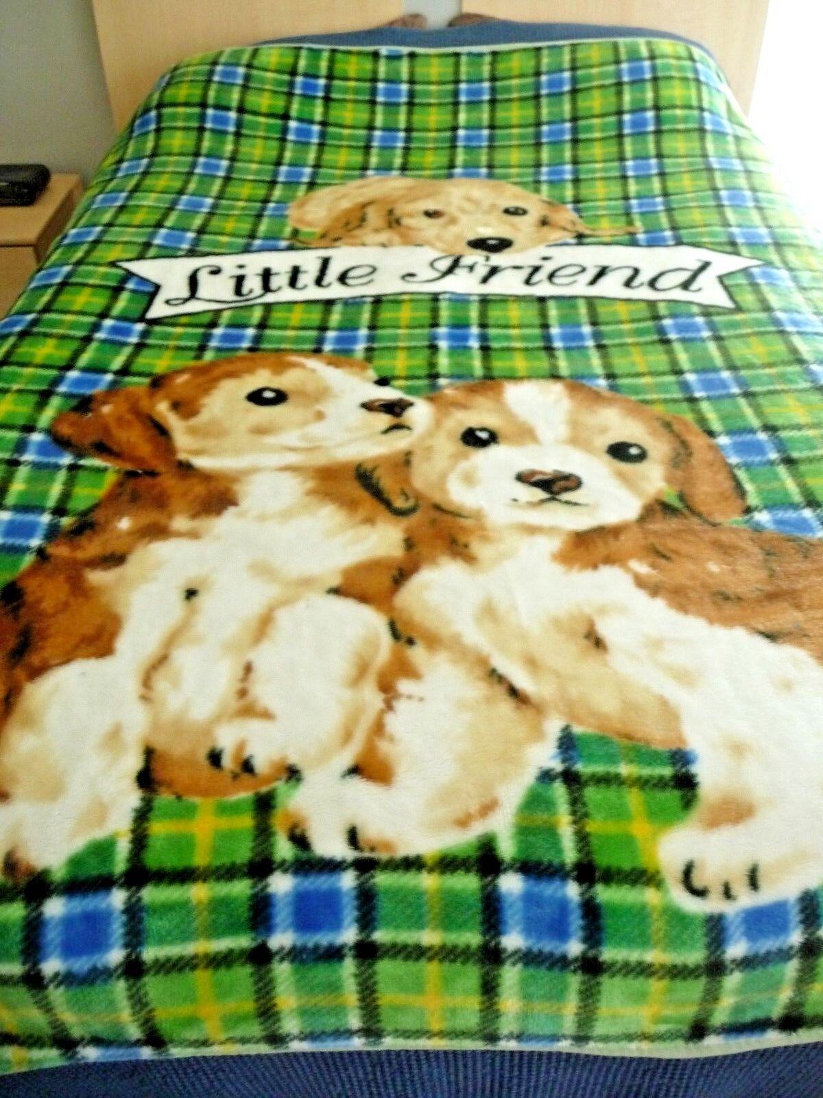 Vnt Mink Plush Blanket Throw Little Friend golden Lab Puppies Plaid 68 x80  CUTE