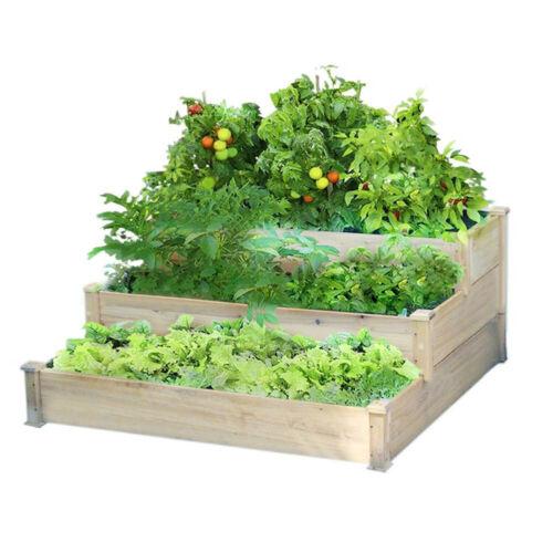 4FT 3 Tier Corner Planter Pine Wooden Garden Trough Flower Vegetable Plant Pots