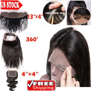 8A-13x4-Peruvian-Straight-Lace-Frontal-Closure-Virgin-Human-Hair-Ear-To-Ear-R50