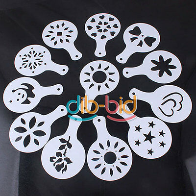 Pack of 12 coffee milk cake cupcake stencil template mold 12 different OC UK