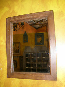 Rustic Old Door Mirror-Mexican-18x23-Western-Cowboy-Antique-Wall-Lodge-Vintage