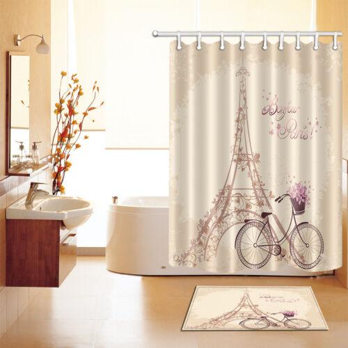 Polyester Waterproof Bonjour Paris Shower Curtain Bath Mat Valentine/'s Day 2541