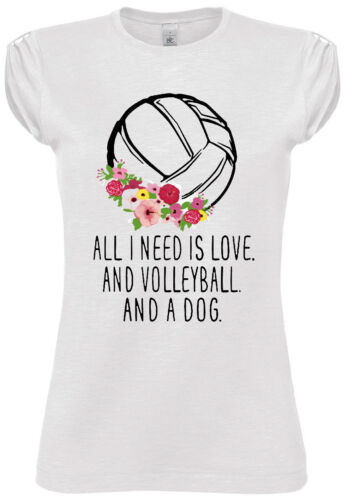 T-SHIRT T SHIRT DONNA DIVERTENTE NO HAPPINESS NEED LOVE VOLLEYBALL DOG FASHION