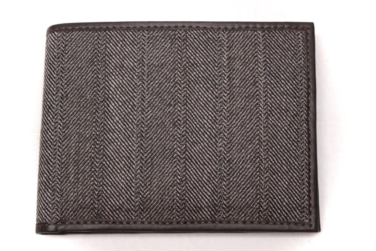 Herren Handgefertigt Geldbörse Portemonnaie Italian Leder Tweed Grau Fischgräten