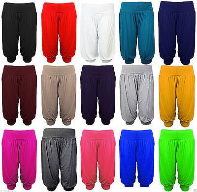 New Womens Ladies 3/4 Length Ali Baba Harem Short Pant Trousers  Plain Plus Size