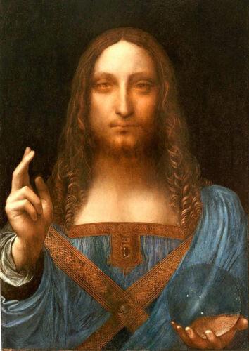 by Leonardo da Vinci on fine canvas UK. Saviour of the World Salvator Mundi.