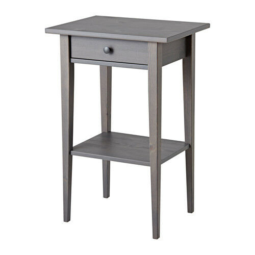 IKEA Hemnes Nightstand Tables Dark Gray Stained