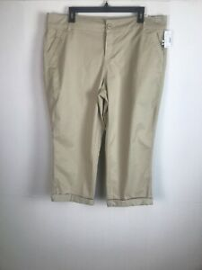 Maurices-Womens-Capri-Cropped-Pants-Size-15-Tan-Cotton-22-Inseam-Cuffed-Zip-NWT