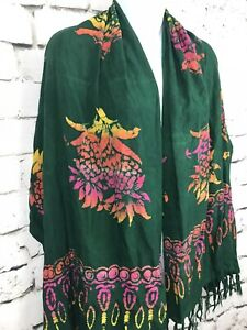 Pineapple-Moon-Green-Hawaiian-Tie-Dye-Floral-Print-Fringe-Scarf-Wrap-Shawl-64X23