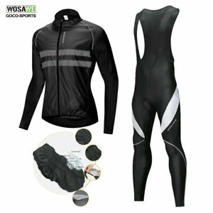 WOSAWE-Men-039-s-Cycling-Jersey-Bib-Pants-Set-Bike-Jersey-Reflective-Padded-Tights