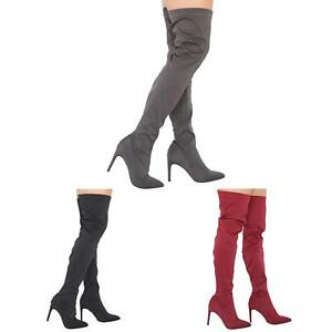 NEW-WOMENS-LADIES-THIGH-HIGH-STRETCHY-LYCRA-STILETTO-HEELED-SOCK-BOOTS-3-8