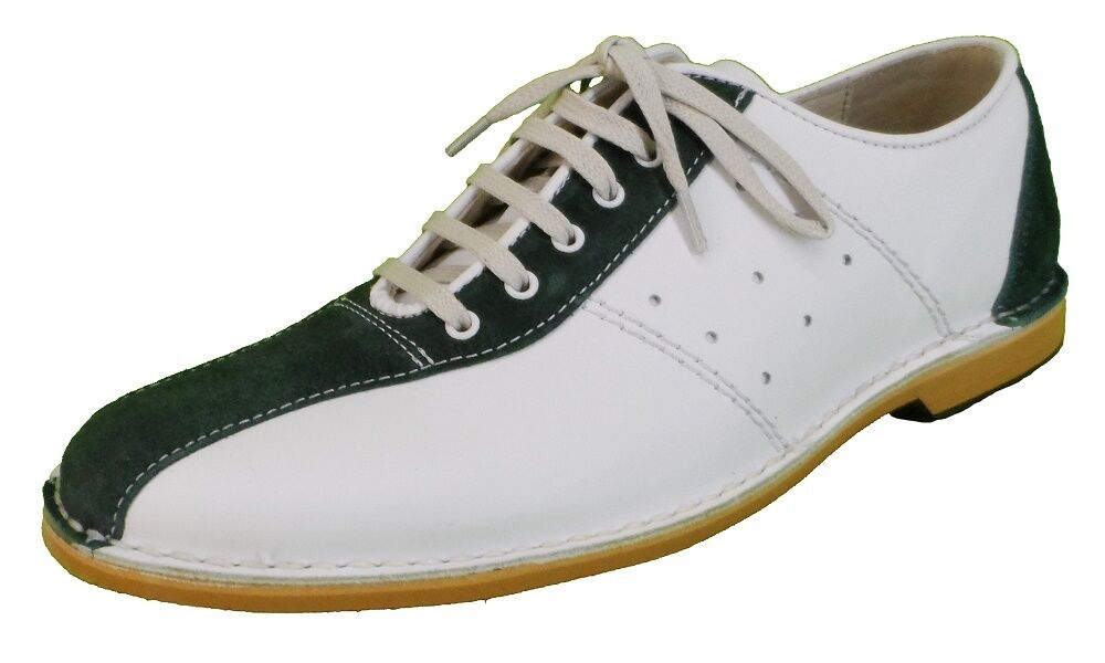 Delicious Junction WATTS Bianco in Pelle Bowling Scamosciata Verde Scarpe Da Bowling Pelle b24433