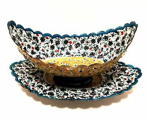 Antique-Persian-Copper-Enamel-Hand-Painted-Kashkul-Bowl-with-Underplate