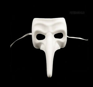 Maschera Di Venezia Bianco Per Vernice Nasone Autentica Carnevale Veneziano 107