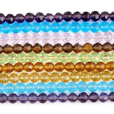 Kristall Glas 6MM Glasperlen Perlen Glasschliffperlen Rund  Facette Kugel Beads