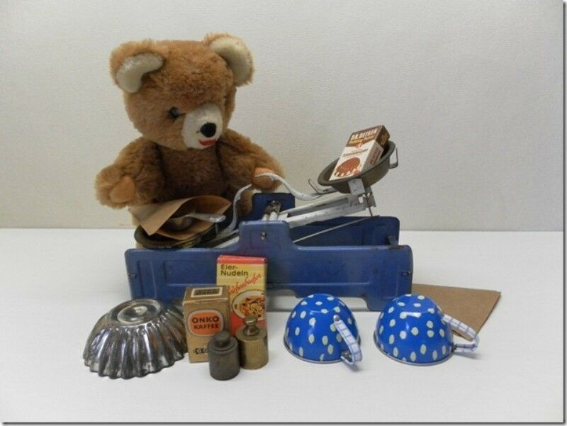 Antique Europe Tin Scale with Accessories & Old Bear
