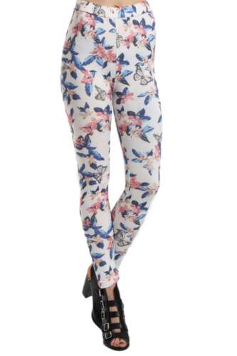 Vintage Womens Leggings Full Length Floral Print High Waisted size 8-12 Fit