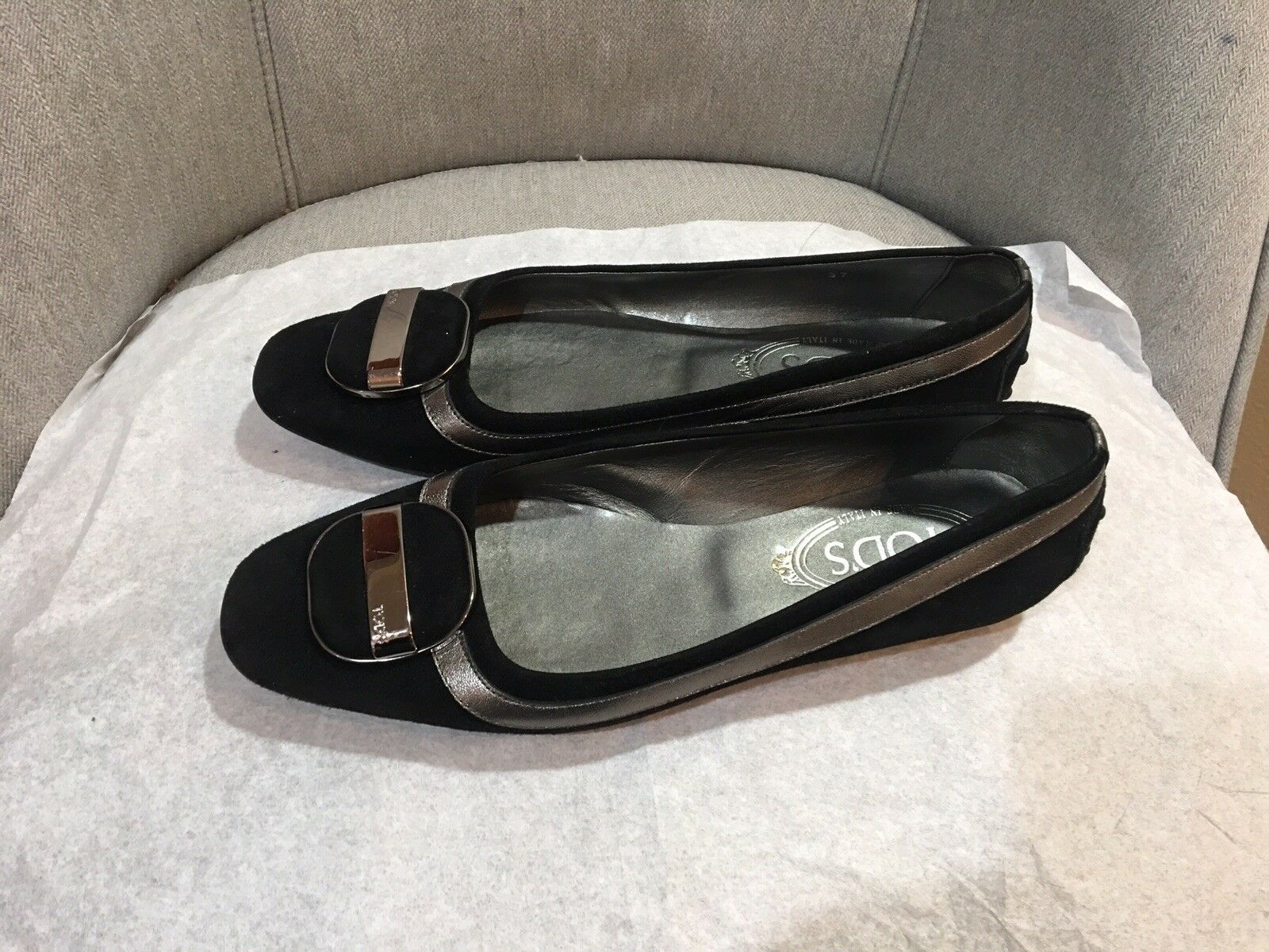 Tods Black Suede Silver Leather Trim Slip On shoes Low Heel shoes 37 M