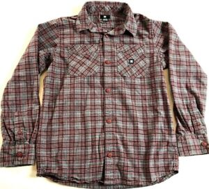 b53c005ff DC Flannel Button Shirt Boy's M Long Sleeve Multi-Color Plaid Casual ...