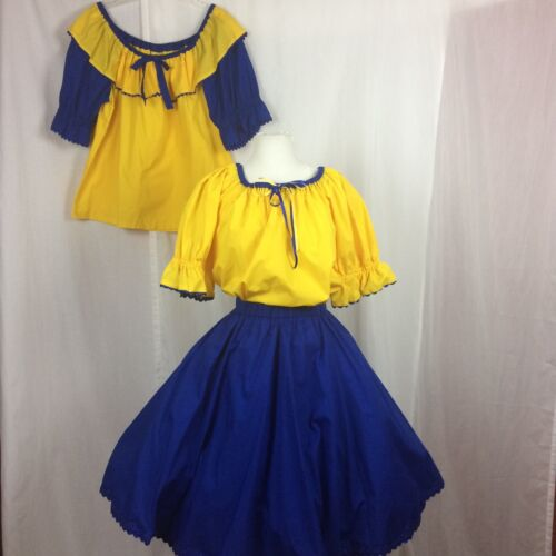 SQUARE DANCE Outfit Skirt + 2 Blouses Blue Yellow