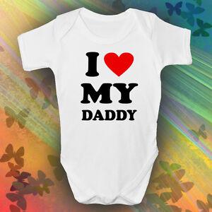 Bon CœUr I Love My Daddy Grandir Bébé Garçons Filles Unisexe Blanc à Manches Courtes Mignon Funky-afficher Le Titre D'origine Quell Summer Soif