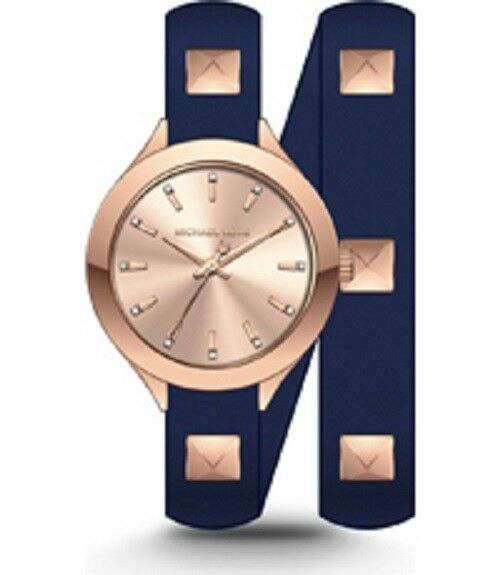 491b4bdcce31 Michael Kors MK2682 Slim Runway Gold Studded Double-wrap Navy Leather Watch  for sale online