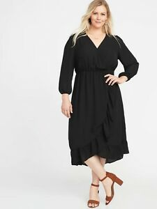 Details about NEW - Old Navy Black Waist-Defined Plus Faux-Wrap Georgette  Dress Plus - Size 1X