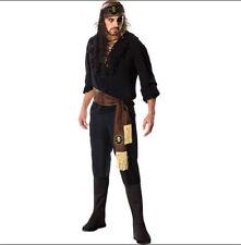 mens XL 40-42 PIRATE of the Seven Seas SWASHBUCKLER black Halloween costume