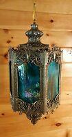 VTG Mid Century Gothic Spanish/Tudor Hanging Swag Light/Lamp,Medieval-Slag Glass