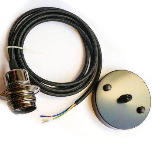 E27 2m Ceiling Rose Fabric Flex Pendant Light Lamp Holder Fitting Free Bulb UK