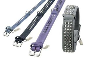 KARLIE-BUFFALO-LEATHER-STRASS-CRYSTAL-DOG-COLLAR-3-ROW-BLUE-BLACK-BROWN-PURPL-XL