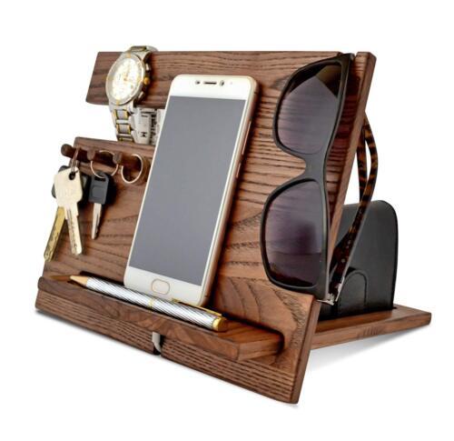 Docking Station For Men Wood Dock Valet Wooden Organizer Phone BestQuality Fancy