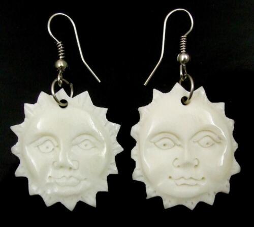 Hand Carved Bone Sun visage Dangle Boucles d/'oreilles pendantes fait main FEMME BIJOUX CA396-A