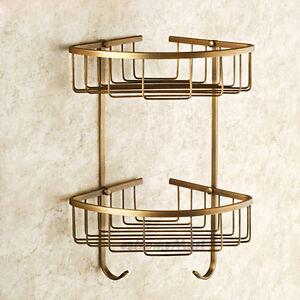 Bathroom-2-Tier-Wall-Mounted-Shampoo-Storage-Basket-Shelves-Corner-Shelf