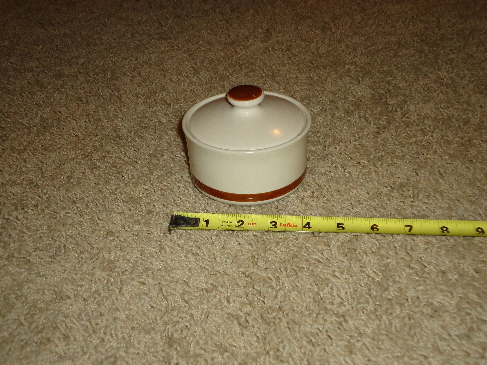 VINTAGE Woodhaven Collection IMPORTED STONEWARE Sandusky SUGAR BOWL W  LID