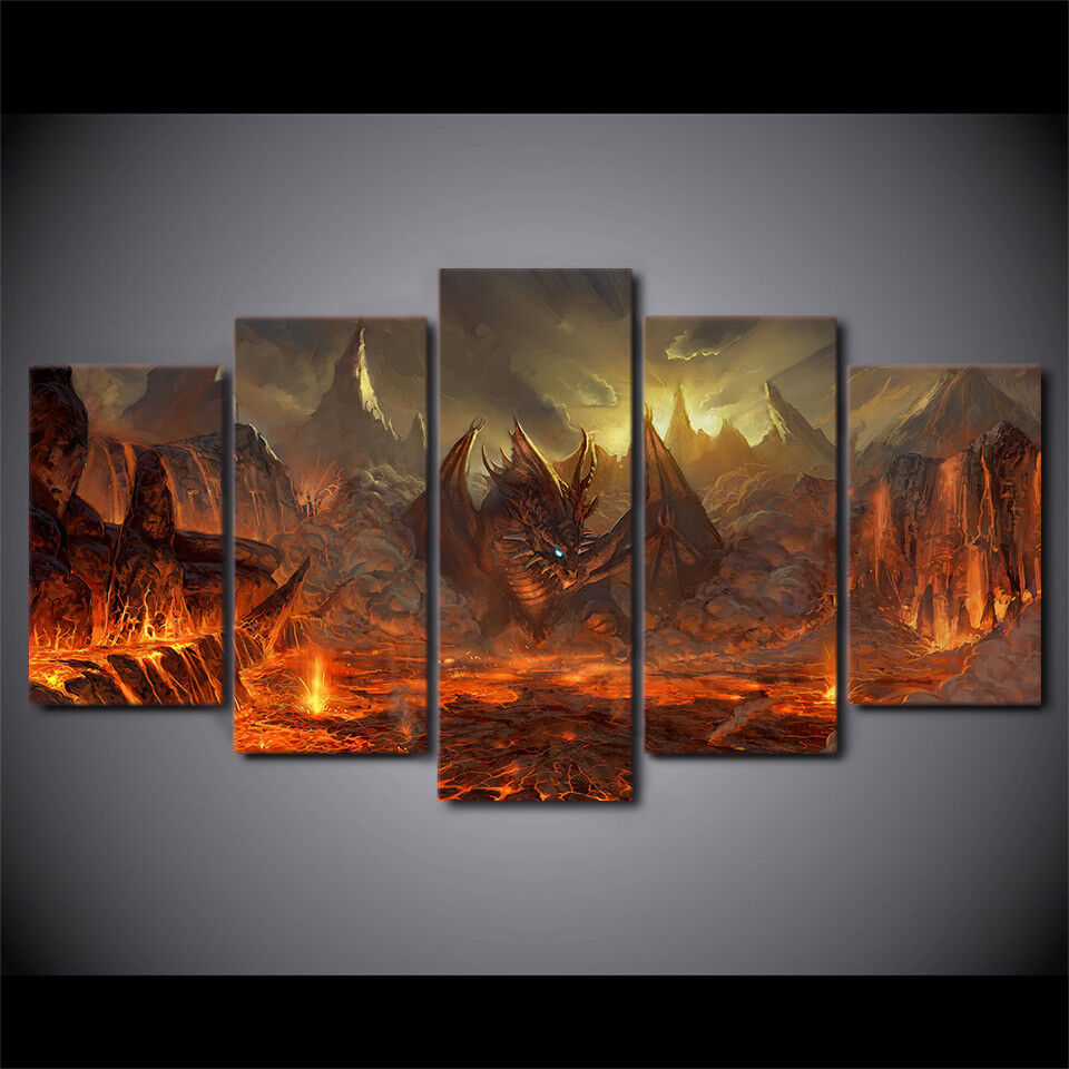 Epic Fantasy Dragons framed print canvas 5 pieces