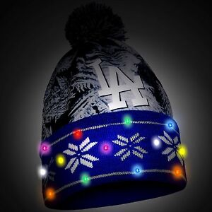 LA Dodgers Big Logo Light Up Printed Beanie Winter Hat Toque Cuffed ... 2f5d86b96ec0