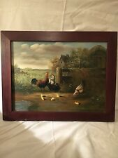 ORIGINAL OIL PAINTING BOROFSKY 12X16 COUNTRY CHICKENS HENS CHICK BARNYARD SCENE