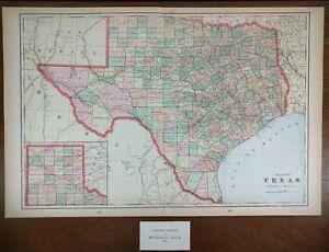 Details about Vintage 1902 TEXAS Atlas Map 22