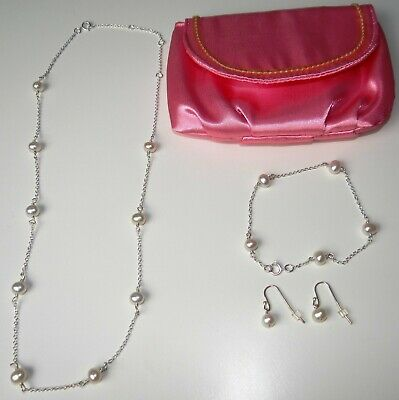 # AVON STERLING SILVER 925 GENUINE PINK FRESHWATER PEARL 3 PC GIFT SET IN POUCH