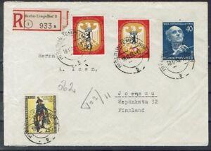 Berlin MiNr 128 129 130 131 étranger R lettre à partir de BERLIN TEMPELHOF après la Finlande-afficher le titre d`origine FeBnFVRW-07161922-367482429