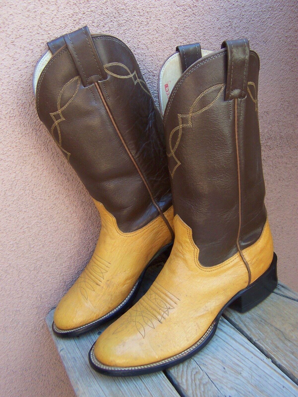 NOCONA Damenschuhe Cowboy Stiefel Soft Golden Palomino Leder Western Riding Größe 6D