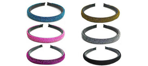 Set of 6 Lite Wt Plastic Headbands Spongy Colorful Rounded Top Hairbands 86101-2